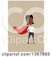 Clipart Of A Flat Design Black Business Woman Super Hero On Tan Royalty Free Vector Illustration by Vector Tradition SM
