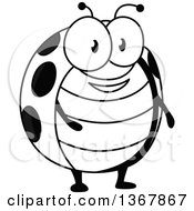 Clipart Of A Cartoon Black And White Happy Ladybug Royalty Free Vector Illustration by Vector Tradition SM