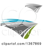 Clipart Of Two Lane Straightaway Highway Roads Royalty Free Vector Illustration