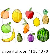 Clipart Of Fruits Royalty Free Vector Illustration