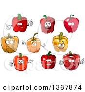 Clipart Of Red And Orange Bell Pepper Characters Royalty Free Vector Illustration
