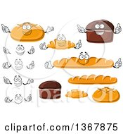 Clipart Of Bread Characters Royalty Free Vector Illustration