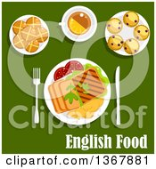 Clipart Of Roast Beef Roast Potato Grilled Toast And Tomatoes Cup Of Tea With Lemon Scones With Currants And Hot Cross Buns Over English Food Text On Green Royalty Free Vector Illustration