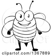 Clipart Of A Cartoon Black And White Happy Bee Royalty Free Vector Illustration by Vector Tradition SM