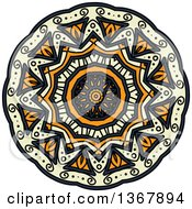 Clipart Of A Navy Blue Orange And Pastel Yellow Kaleidoscope Flower Royalty Free Vector Illustration