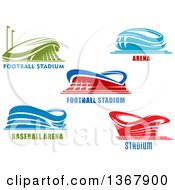 Clipart Of Arena Stadiums With Text Royalty Free Vector Illustration