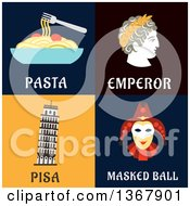 Clipart Of Pasta Emperor Pisa And Masked Ball Designs Royalty Free Vector Illustration