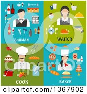 Clipart Of Barman Waiter Cook And Baker Designs Royalty Free Vector Illustration