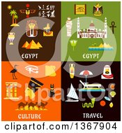 Clipart Of Egypt Travel Designs Royalty Free Vector Illustration