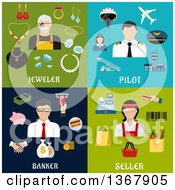 Clipart Of Flat Design Jeweler Pilot Banker And Seller Designs Royalty Free Vector Illustration