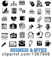Clipart Of Black And White Business And Office Icons With Text Royalty Free Vector Illustration