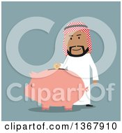 Clipart Of A Flat Design Arabian Businessman Putting A Coin In A Piggy Bank On Blue Royalty Free Vector Illustration