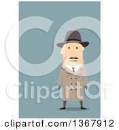 Clipart Of A Flat Design White Male Detective On Blue Royalty Free Vector Illustration by Vector Tradition SM