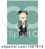 Clipart Of A Flat Design White Graduate Man On Green Royalty Free Vector Illustration by Vector Tradition SM
