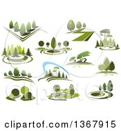 Clipart Of Green Park Landscapes Royalty Free Vector Illustration