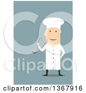 Flat Design White Male Chef Holding A Ladel On Blue