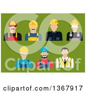 Poster, Art Print Of Flat Design Construction And Service Avatars On Green