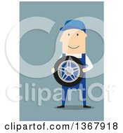 Clipart Of A Flat Design White Male Mechanic Holding A Tire On Blue Royalty Free Vector Illustration by Vector Tradition SM