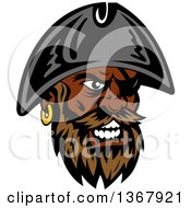 Clipart Of A Cartoon Tough Black Male Pirate Captain With A Beard Wearing An Eye Patch And Hat Royalty Free Vector Illustration by Vector Tradition SM