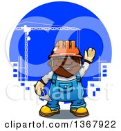 Cartoon Happy Black Male Mason Construction Worker Holding A Trowel And Waving Over A City