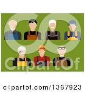 Clipart Of Flat Design Farmer Mechanic Jeweler And Tailor Avatars On Green Royalty Free Vector Illustration by Vector Tradition SM