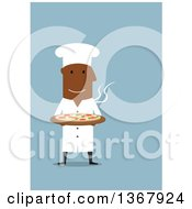 Clipart Of A Flat Design Black Male Chef Holding A Pizza On Blue Royalty Free Vector Illustration by Vector Tradition SM
