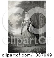 Historical Illustration Of Martha Washington Posing Outdoors Near A Pillar Royalty Free Illustration by JVPD