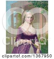 Martha Washington Holding A Hand Fan In A Garden
