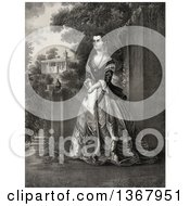 Historical Illustration Of Martha Washington Posing At Mount Vernon Royalty Free Illustration