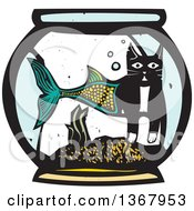 Clipart Of A Woodcut Half Cat Half Fish In A Bowl Royalty Free Vector Illustration