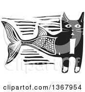 Clipart Of A Black And White Woodcut Half Cat Half Fish Royalty Free Vector Illustration