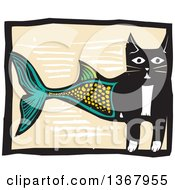 Clipart Of A Woodcut Half Cat Half Fish Royalty Free Vector Illustration