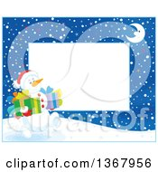 Clipart Of A Horizontal Christmas Frame Border Of A Crescent Moon And Snowman Carrying Gifts Royalty Free Vector Illustration