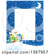 Clipart Of A Vertical Christmas Frame Border Of A Crescent Moon And Snowman Carrying Gifts Royalty Free Vector Illustration