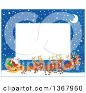 Clipart Of A Horizontal Christmas Frame Border Of A Crescent Moon Snow And Santa With His Magic Reindeer And Sleigh Royalty Free Vector Illustration