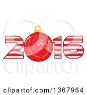Clipart Of A Santa Face On A Christmas Bauble In A Striped New Year 2016 Royalty Free Vector Illustration