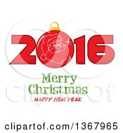 Santa Face On A Bauble In A Red New Year 2016 Over Merry Christmas Happy New Year Greeting