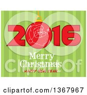 Clipart Of A Santa Face On A Bauble In A Red New Year 2016 Over Merry Christmas Happy New Year Greeting And Green Stripes Royalty Free Vector Illustration by Hit Toon