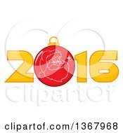 Clipart Of A Santa Face On A Christmas Bauble In A New Year 2016 Royalty Free Vector Illustration by Hit Toon