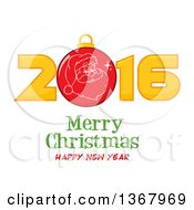 Clipart Of A Santa Face On A Bauble In A Red New Year 2016 Over Merry Christmas Happy New Year Greeting Royalty Free Vector Illustration by Hit Toon