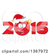 Clipart Of A Happy Christmas Bauble Ornament Character Wearing A Santa Hat In A Red New Year 2016 Royalty Free Vector Illustration by Hit Toon