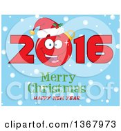 Clipart Of A Happy Bauble Ornament Character Wearing A Santa Hat In 2016 Over Merry Christmas Happy New Year Text And Snow On Blue Royalty Free Vector Illustration by Hit Toon