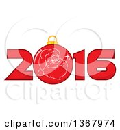 Clipart Of A Santa Face On A Christmas Bauble In A Red New Year 2016 Royalty Free Vector Illustration
