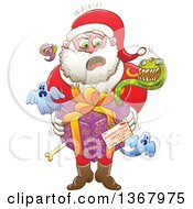 Clipart Of A Cartoon Shocked Santa Holding A Gift From Halloween Creepies To Himeself Royalty Free Vector Illustration