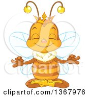Clipart Of A Cute Bee Wearing A Crown And Meditating Royalty Free Vector Illustration