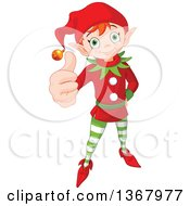 Clipart Of A Cute Red Haired Christmas Elf Holding Up A Thumb Royalty Free Vector Illustration by Pushkin