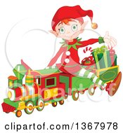 Cute Red Haired Christmas Elf Presenting And Sitting On A Toy Train