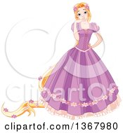 Princess Rapunzel With Long Hair Decorated In Flowers Wearing A Long Purple Dress