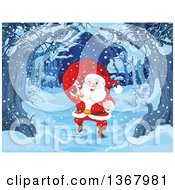 Clipart Of A Merry Santa Claus Carrying A Sack Over His Shoulder And Walking On A Tree Lined Path On A Snowy Christmas Eve Royalty Free Vector Illustration by Pushkin