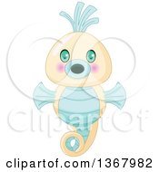 Clipart Of A Cute Baby Seahorse Royalty Free Vector Illustration